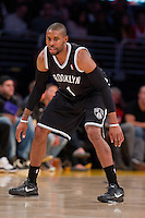 20 November 2012: Guard (1) C.J. Watson of the Brooklyn Nets against the Los Angeles Lakers during the first half of the Lakers 95-90 victory over the Nets at the STAPLES Center in Los Angeles, CA.