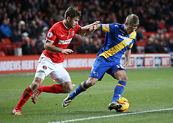 Derby County's Jamie Ward under pressure from Charlton Athletic's Dorian Dervite - Photo mandatory by-line: Robin White/JMP - Tel: Mobile: 07966 386802 14/12/2013 - SPORT - Football - Charlton - The Valley - Charlton Athletic v Derby County - Sky Bet Championship