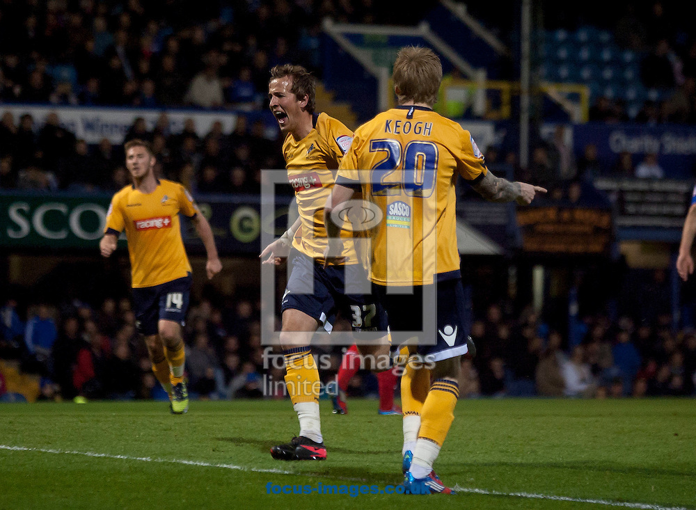 Picture by Daniel Chesterton/Focus Images Ltd. 07966 018899.10/04/12.Harry Kane of Millwall celebrates after scoring his side's first goal during the Npower Championship match at Fratton Park stadium, Portsmouth.