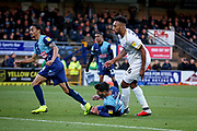 Peterborough United defender Rhys Bennett (16) sees this effort saved during the EFL Sky Bet League 1 match between Wycombe Wanderers and Peterborough United at Adams Park, High Wycombe, England on 3 November 2018.