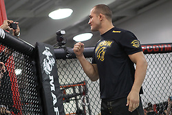 November 10, 2011; Rosemead, CA; USA; Junior Dos Santos works out for the media ahead of his upcoming title challenge against UFC Heavyweight Champion Cain Velasquez.  The two will meet on Saturday night at the Honda Center in Anaheim, CA.