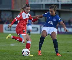 Everton ladies Fern Whelan puts pressure on Bristol Academy's Nikki Watts  - Photo mandatory by-line: Alex James/JMP - Mobile: 07966 386802 23/08/2014 - SPORT - FOOTBALL - Bristol  - Bristol Academy v Everton Ladies - FA Women's Super league