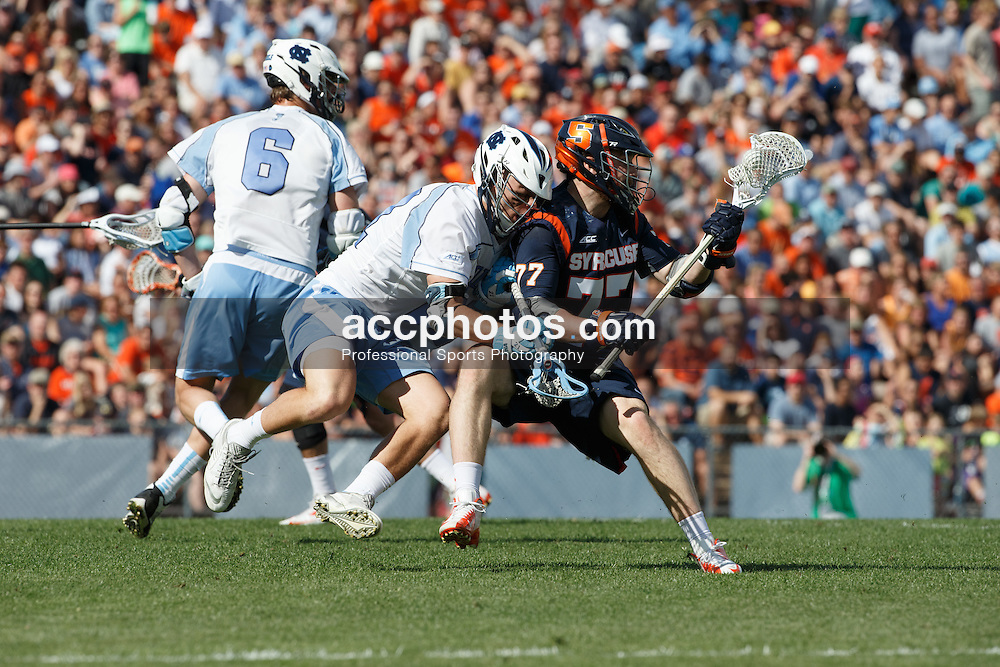 CHAPEL HILL, NC - APRIL 11: Michael Tagliaferri #21 of the North Carolina Tar Heels defends Henry Schoonmaker #77 of Syracuse Orange on April 11, 2015 at Fetzer Field in Chapel Hill, North Carolina. North Carolina won 17-15. (Photo by Peyton Williams/US Lacrosse/Getty Images) *** Local Caption *** Michael Tagliaferri;Henry Schoonmaker