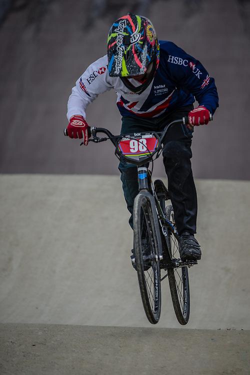 Cruiser - 15 & 16 Men #98 (MANSI Luca) GBR during practice at the 2018 UCI BMX World Championships in Baku, Azerbaijan.