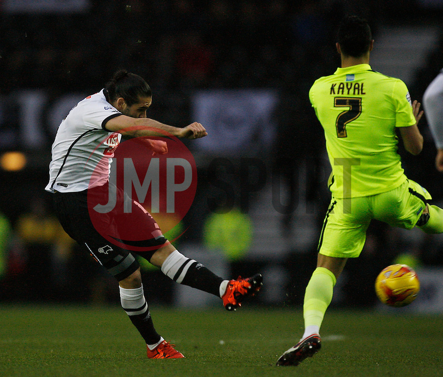 Bradley Johnson of Derby County has a shot at goal - Mandatory byline: Jack Phillips / JMP - 07966386802 - 12/12/2015 - FOOTBALL - The iPro Stadium - Derby, Derbyshire - Derby County v Brighton & Hove Albion - Sky Bet Championship