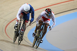 March 2, 2018 - Apeldoorn, Netherlands - British's Jack Carlin and Yuta Wakimoto of Japan competes in Men's sprint eight fnals during UCI Track Cycling World Championships  2018 in Apeldoorn, The Netherlans, on 2 March 2018. (Credit Image: © Foto Olimpik/NurPhoto via ZUMA Press)