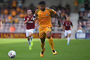 Newport County midfielder Joss Labadie (4) sprints forward with the ball during the EFL Sky Bet League 2 match between Northampton Town and Newport County at the PTS Academy Stadium, Northampton, England on 14 September 2019.