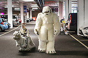UNITED KINGDOM, London: 26 May 2019 <br /> Father Jason Smith and son Lachlan aged 7 make their way from the car in their impressive home-made Star Wars cosplay outfits before entering the London ExCeL during the final day of the MCM London Comic Con. The three day comic convention is being held at London ExCeL from Fri 24th - Sun 26th of May.