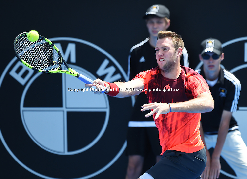 USA's Jack Sock on quarter finals day at the ASB Classic Tennis Men's tournament. ASB Tennis Centre, Stanley st, Auckland, New Zealand. Thursday 14 January 2016. Copyright Photo: Andrew Cornaga / www.photosport.nz
