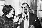 Dr Paul Singer celebrates his acquittal by the Criminal Court. He had previously been tried for fraud and sentenced to 14 years in connection with the Shanahans stamps affair..24.01.1962