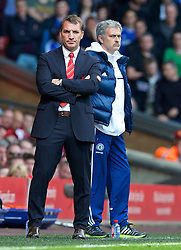 27.04.2014, Anfield, Liverpool, ENG, Premier League, FC Liverpool vs FC Chelsea, 36. Runde, im Bild Liverpool's manager Brendan Rodgers and Chelsea's manager Jose Mourinho // during the English Premier League 36th round match between Liverpool FC and Chelsea FC at Anfield in Liverpool, Great Britain on 2014/04/27. EXPA Pictures &copy; 2014, PhotoCredit: EXPA/ Propagandaphoto/ David Rawcliffe<br /> <br /> *****ATTENTION - OUT of ENG, GBR*****