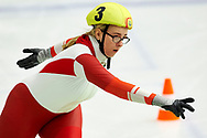 Graz, Austria - 2017 March 24: Sabina Katharina Bichlmair from from SO Austria (3) competes in Speed Skating 333 meters race while Special Olympics World Winter Games Austria 2017 at Icestadium Graz Liebenau on March 24, 2017 in Graz, Austria.<br /> <br /> Mandatory credit:<br /> Photo by © Adam Nurkiewicz / Mediasport<br /> <br /> Adam Nurkiewicz declares that he has no rights to the image of people at the photographs of his authorship.<br /> <br /> Picture also available in RAW (NEF) or TIFF format on special request.<br /> <br /> Any editorial, commercial or promotional use requires written permission from the author of image.<br /> <br /> Image can be used in the press when the method of use and the signature does not hurt people on the picture.