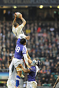 Twickenham, GREAT BRITAIN, Courtney LAWES, out jumping,  Josefa TEKORI during the Investec,  Autumn International, Challenge Series, England vs Samoa, at Twickenham Stadium, Surrey on Saturday  20/11/2010   [ Mandatory Credit, Peter Spurrier/Intersport-images]