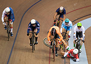Glasgow, Scotland, Tuesday, 7th  August 2018, European Championships, Track Cycling, Sir Chris Hoy Velodrome, Hungary's Sandor SZALONTAY,  goes down, during the Heat 2 Keirin,  © Peter SPURRIER