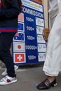 A foreign currency conversion sign in the capital's tourist area of Covent Garden, on 1st September 2017, in London, England.