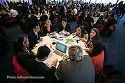 Students work in multinational teams to identify the challenges, opportunities and risks involved in a global business cases study. Over a two hour period, they analyze and deliberate the business case study. The students then prepare a presentation for later delivery before a panel of judges. Virtual Enterprises International's Global Business Challenge was part of the Youth Business Summit held at NYU's Kimmel Center in New York on April 1, 2014. (Photo: JeffreyHolmes.com)