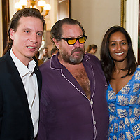 "Patrick Marinoff (CEO Maybach) (L) Julian Schnabel (C) and Rula Jebreal (R) at the press preview of Julian Schnabel - ""Permanently Becoming And The Architecture Of Seeing"" part of 54th International Art Biennale in Venice"