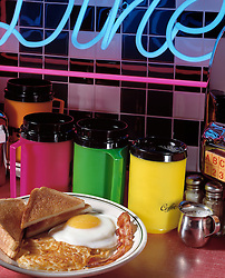 good morning breakfast plate one fried egg sunny side up hash brown potatoe toast bacon coffee cream diner counter neon light Ad Advertisement Advertising Announce Announcement Banner Bill Billboard Board Bulletin Business Communicate Communication Concept Conceptual Display Icon Iconic Information Media Message Notice Placard Poster Presentation Publicity Sign Signage Symbol Text Cuisine lifestyle travel Dine Entertaining Entice Enticing Fed Feed Feeding Flavor Flavorful Foodshot