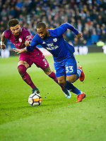 Football - 2017 / 2018 FA Cup - Fourth Round: Cardiff City vs. Manchester City<br /> <br /> Junior Hoilett  of Cardiff City  attacks Kyle Walker of Manchester City, at Cardiff City Stadium.<br /> <br /> <br /> COLORSPORT/WINSTON BYNORTH
