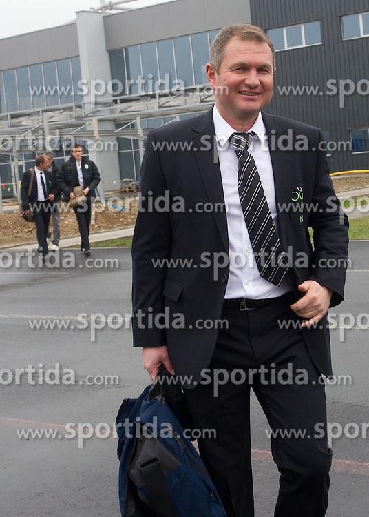 Head coach Matjaz Kek at departure of Slovenia's National football team to Belfast, Northern Ireland for EURO 2012 Quaifications game between National teams of Slovenia and Northern Ireland, on March 28, 2011, at Airport Edvard Rusjan, Maribor, Slovenia. (Photo by Vid Ponikvar / Sportida)