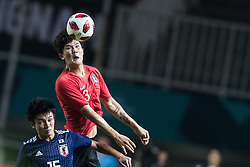 BOGOR, Sept. 1, 2018  Kim Minjae (Above) of South Korea vies with Ueda Ayase of Japan during the men's football final between South Korea and Japan at the 18th Asian Games in Bogor, Indonesia on Sept. 1, 2018. (Credit Image: © Wu Zhuang/Xinhua via ZUMA Wire)