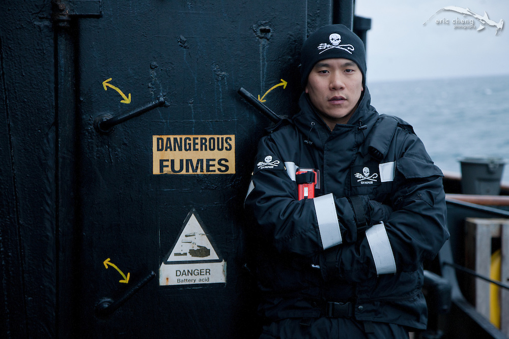 Eric Cheng on the bridge deck of the MY Steve Irwin. (Photo by Adam Lau/Sea Shepherd Conservation Society)