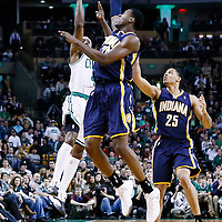 04 January 2013: Boston Celtics shooting guard Jason Terry (4) takes a three point jumpshot at the buzzer over Indiana Pacers center Ian Mahinmi (28) and Indiana Pacers small forward Gerald Green (25) during the Boston Celtics 94-75 victory over the Indiana Pacers at the TD Garden, Boston, Massachusetts, USA.