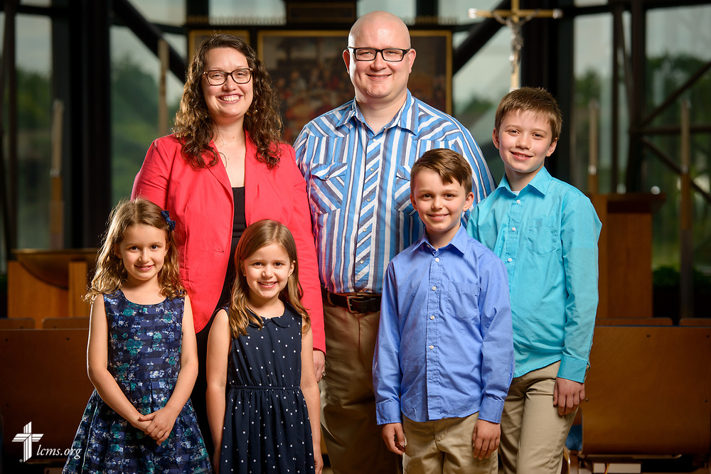 Portrait of the Rev. James and Angela Sharp, career missionaries to Uruguay, along with their family on Thursday, June 1, 2017, in the chapel of the International Center of The Lutheran Church–Missouri Synod in St. Louis. LCMS Communications/Erik M. Lunsford