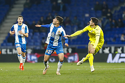 January 17, 2019 - Barcelona, Catalonia, Spain - Lluis Lopez (27) of RCD Espanyol and Gerard Moreno (7) of Villarreal CF during the match RCD Espanyol v Villarreal CF, for the round of 16 of the Copa del Rey played at Camp Nou  on 17th January 2019 in Barcelona, Spain. (Credit Image: © Mikel Trigueros/NurPhoto via ZUMA Press)