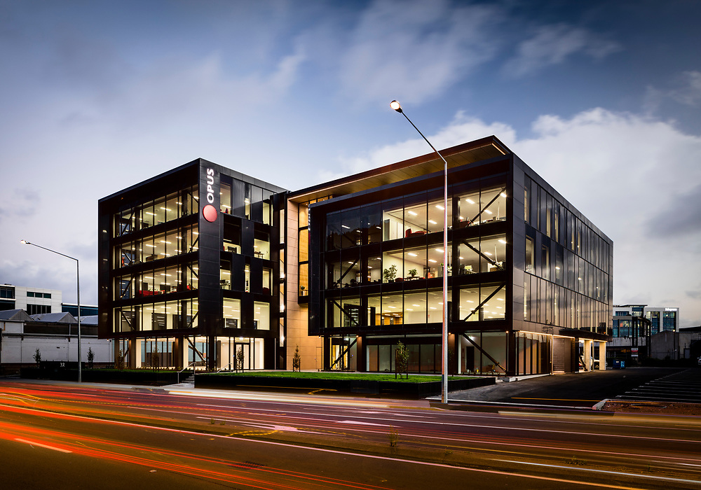 Commercial architecture, Opus Building, 22 Moorhouse Ave, Christchurch, New Zealand.