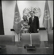 Dr. Nkosazana Dlamini Zuma, Chairperson, of the African Union with United Nations Secretary General Ban Ki moon.