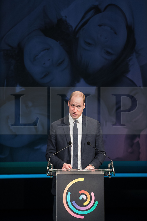 © Licensed to London News Pictures . 06/12/2017 . Manchester , UK . PRINCE WILLIAM delivers a speech about his work to counter bullying and abuse . The Duke And Duchess Of Cambridge, Prince William and Kate Middleton, attend the Children's Global Media Summit at the Manchester Central Convention Centre . Photo credit : Joel Goodman/LNP