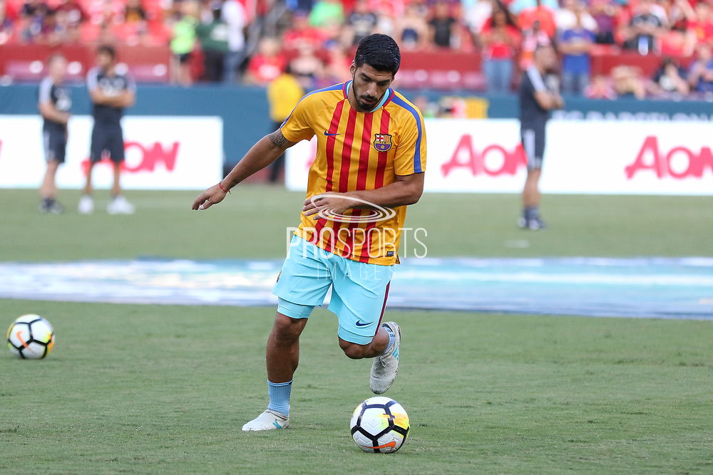 Barcelona Luis Suarez during the International Champions Cup match between Barcelona and Manchester United at FedEx Field, Landover, United States on 26 July 2017.