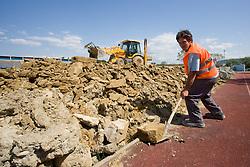 Rebuilding a new football stadium Bonifika, on May 19, 2010, in Koper, Slovenia.  (Photo by Vid Ponikvar / Sportida)