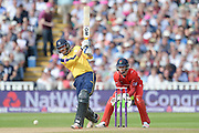 James Vince and Jos Buttler during the NatWest T20 Blast Semi Final match between Hampshire County Cricket Club and Lancashire County Cricket Club at Edgbaston, Birmingham, United Kingdom on 29 August 2015. Photo by David Vokes.