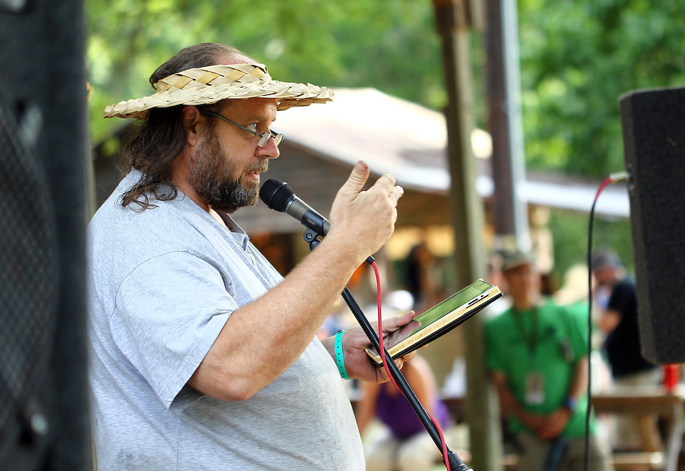 Michael Toy reads his original poetry at the Wild Goose Festival at Shakori Hills in North Carolina June 25, 2011.  (Photo by Courtney Perry)