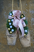 Used ballet shoes used for decoration and good luck