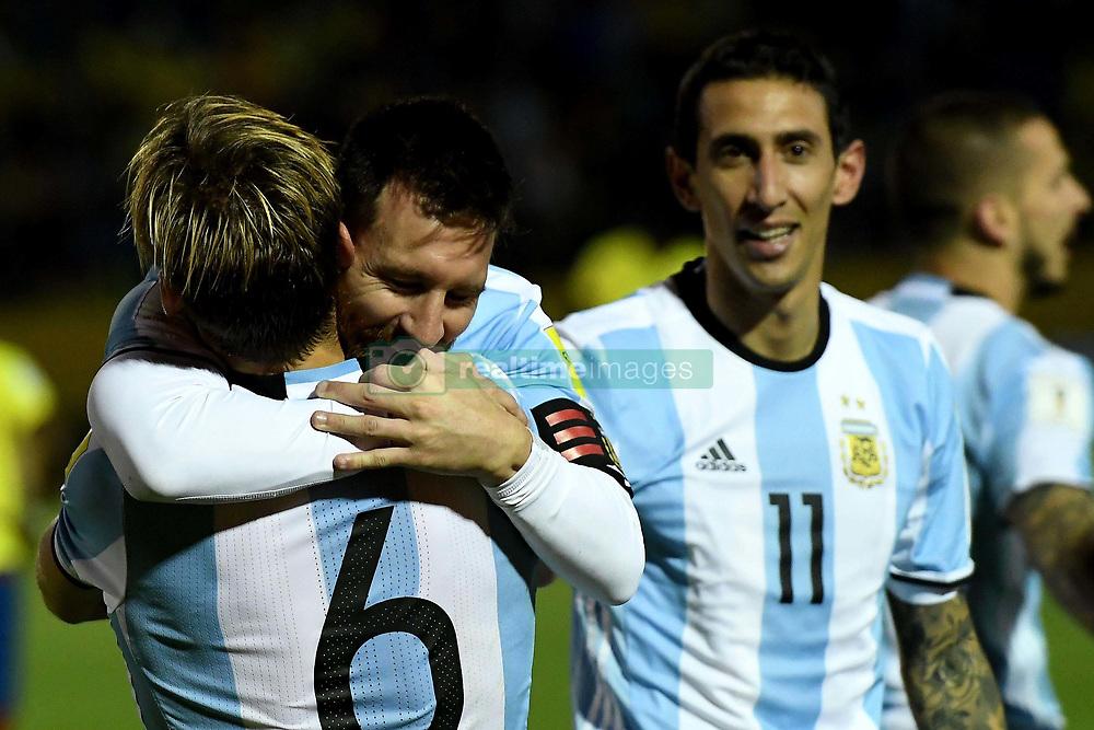Quito, Ecuador: Con tres goles de Messi, Argentina vence 3-1 a Ecuador y está clasificando al Mundial Rusia 2018, en  el estadio Atahualpa por la última fecha de las Eliminatorias Sudamericanas. Messi festeja el tercero de sus tantos. Foto: Enviado Especial (Credit Image: © Telam/Xinhua via ZUMA Wire)
