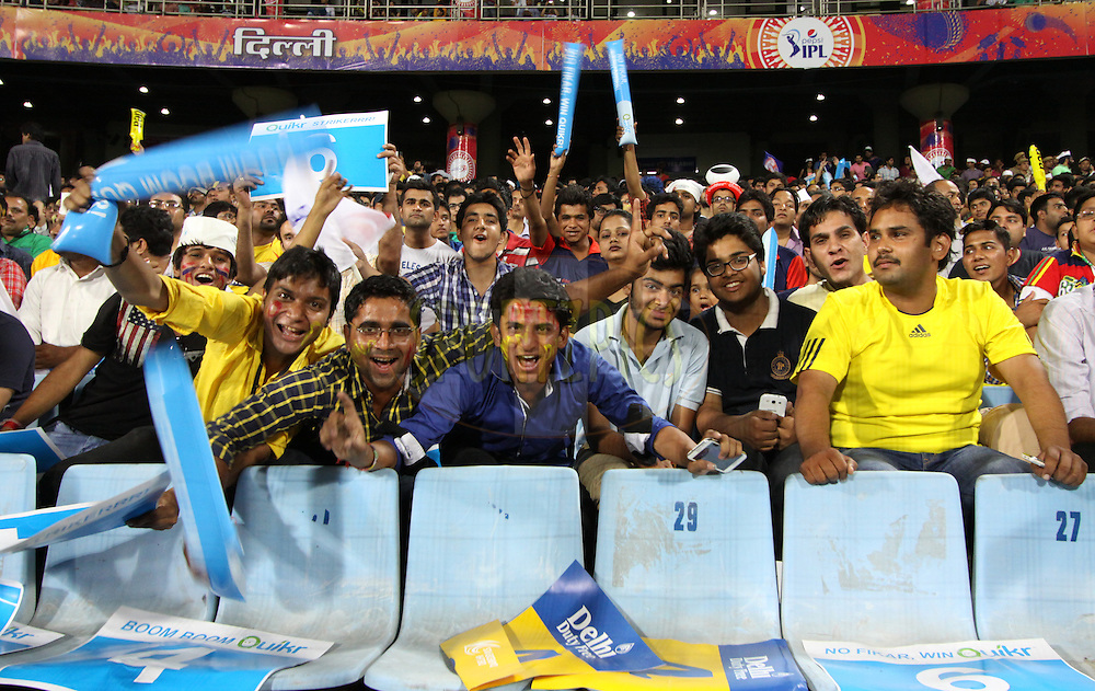 IPL Fans during match 26 of the Pepsi Indian Premier League Season 2014 between the Delhi Daredevils and the Chennai Superkings held at the Ferozeshah Kotla cricket stadium, Delhi, India on the 5th May  2014<br /> <br /> Photo by Arjun Panwar / IPL / SPORTZPICS<br /> <br /> <br /> <br /> Image use subject to terms and conditions which can be found here:  http://sportzpics.photoshelter.com/gallery/Pepsi-IPL-Image-terms-and-conditions/G00004VW1IVJ.gB0/C0000TScjhBM6ikg