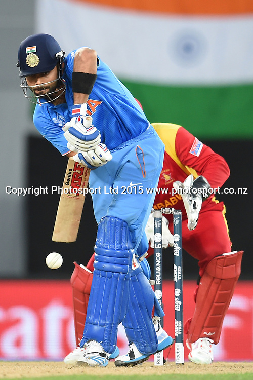 Indian batsman Virat Kohli in action during the ICC Cricket World Cup match between India and Zimbabwe at Eden Park in Auckland, New Zealand. Saturday 14 March 2015. Copyright Photo: Raghavan Venugopal / www.photosport.co.nz