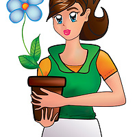 Young girl holding a vase containing a colorful flower