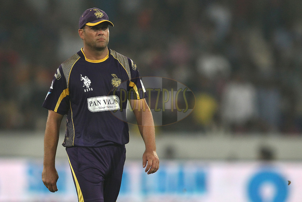 Jacques Kallis of the Kolkata Knight Riders during match 18 of the Oppo Champions League Twenty20 between the Kolkata Knight Riders and the Dolphins held at the Rajiv Gandhi Cricket Stadium, Hyderabad, India on the 29th September 2014<br /> <br /> Photo by:  Shaun Roy / Sportzpics/ CLT20<br /> <br /> <br /> Image use is subject to the terms and conditions as laid out by the BCCI/ CLT20.  The terms and conditions can be downloaded here:<br /> <br /> http://sportzpics.photoshelter.com/gallery/CLT20-Image-Terms-and-Conditions-2014/G0000IfNJn535VPU/C0000QhhKadWcjYs