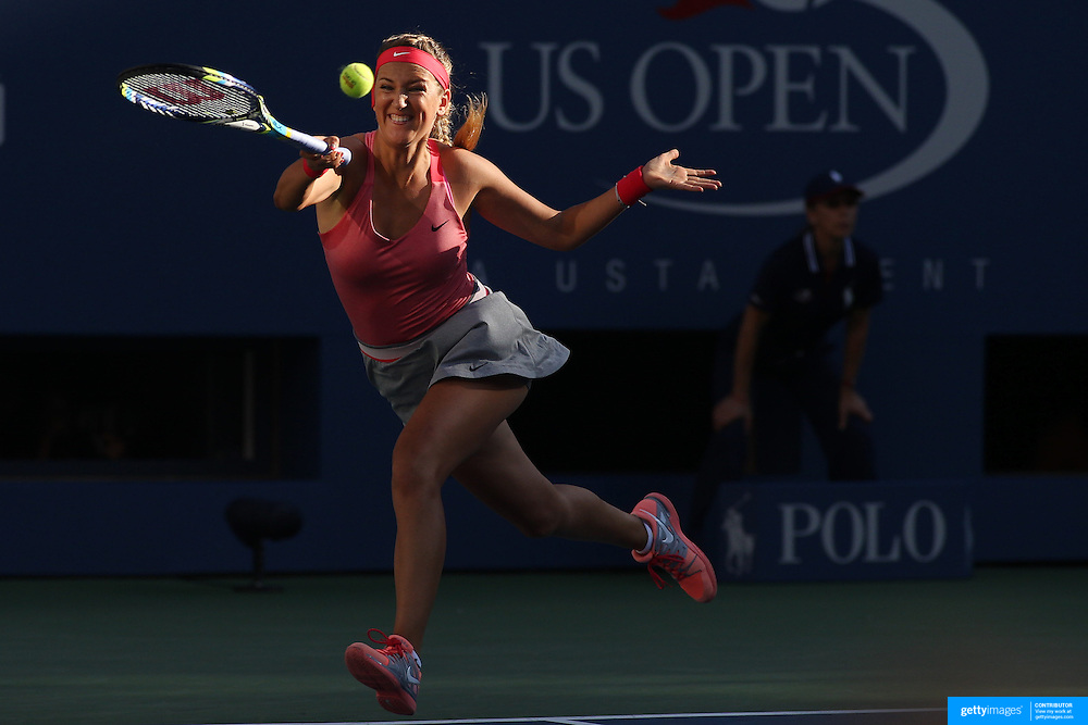 Victoria Azarenka, Belarus, in action against Serena Williams, USA, during the Women's Singles Final at the US Open, Flushing. New York, USA. 8th September 2013. Photo Tim Clayton