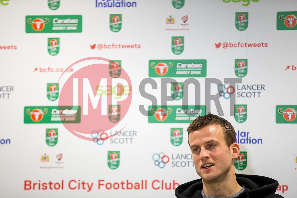 Luke Steele speaks in the pre match press conference ahead of Bristol City's Carabao Cup Quarter Final against Manchester United - Rogan/JMP - 18/12/2017 - Ashton Gate Stadium - Bristol, England - Bristol City v Manchester United - Carabao Cup Quarter Final.