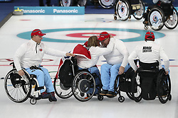 March 16, 2018 - Gangneung, GANGWON, SOUTH KOREA - March 16, 2018-Gangneung, South Korea-Norway Curling Team win ceremony after match during an 2018 Winter Paralympic Wheelchair Curling Mixed Semifinal at Gangneung Curling Center in Gangneung, South Korea. Match Won Norway, Score by 8-6. (Credit Image: © Gmc via ZUMA Wire)