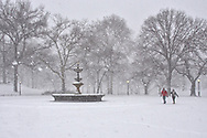 Snow fall at Cherry Hill Fountain in Central Park, New York City