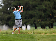 Chris Thompson of Lawrence, Kansas drives the ball on the sixteenth hole during the second round of the Greater Cedar Rapids Open held at Hunters Ridge Golf Course in Marion on Saturday, July 23, 2011.