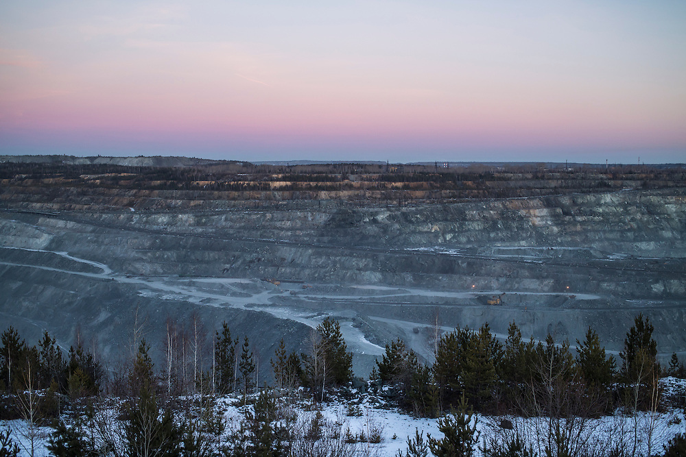 The Uralasbest asbestos mine on Monday, November 25, 2013 in Asbest, Russia.