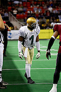 4/12/2007 - Moses Harris lines up for a play in the Frisco Thunder's 46-33 win over the Alaska Wild in the first professional football game in Alaska.