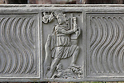 Shepherd with a sheep between the legs, detail of relief on a sarcophagus, Oratorio Cristiano delle Terme del Mitra (Christian Oratory), built in the 4th century - 5th century on the top of the mithraeum of the Baths of Mithras, Ostia Antica, Italy. Picture by Manuel Cohen